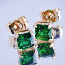 Statement vintage Emerald crystal Ear Womens Yellow gold Filled Stud Earing