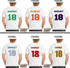 JERSEY NAME AND NUMBER CUSTOM ADULT SIZE Iron On Heat Transfer Vinyl DIY Decal
