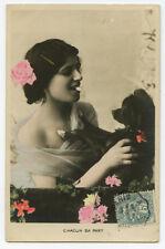 c 1910 Pretty LADY w/ her BLACK DOG vintage photo postcard