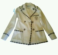 CHANEL 12A Bombay Crest Cashmere Ivory Jacket Blazer 36/Small Coat MINT RARE!!