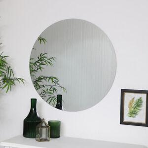 Large Round Frameless Mirror circle wall decor scandi minimalist nordic bathroom