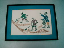 ORIENTAL BLOCK PRINTING  FRAMED , MATTED BY BARNEY'S 2 LEWIS  PLACE , GREENWICH
