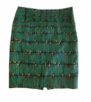 The Limited Womens Pencil Skirt Green Black Print Above Knee Back Slit Lined 0