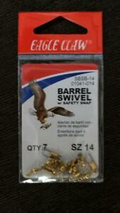 Eagle Claw Barrel Swivel w/ Safety Snap 01041, 01042, Brass Black  **pick size