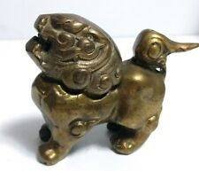 "Vintage Brass Foo Dog Lion Incense Burner Chinese Fengshui 4.25"" L x 3.25"" H"