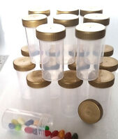 18 Screw Top Tube Bottle 1.5oz Container JARS Gold Caps Party RX 3814 DecoJars