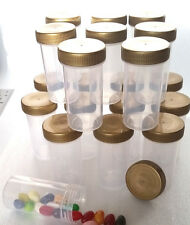 20 Screw Top Tube Bottle 1.5oz Container JARS Gold Caps Party RX 3814 DecoJars