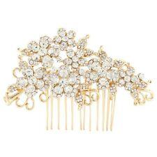 Bridal Wedding Clear Austrian Crystal Flower Hair Clip Comb Head Piece Gold