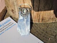 Large Blue Kyanite+Moonstone Pendant-Serenity-Cool Blue+ Energy of the Moon!