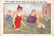 POSTCARD  COMIC   Seaside  Swimming   Fun