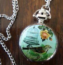 Vintage Style Antique Silver Blue Birdcage Bird Cage Pocket Fob Watch Necklace