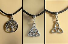 Triquetra Celtic Knot Tree of Life Cord Necklace Pagan Wicca Festival Gift