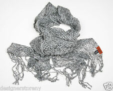 MISSONI Mohair Ruffle Shimmer Scarf in Gray SC78PSD3310  0003