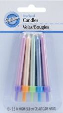 Wilton 8 Pack PEARLIZED CAKE CANDLES MULTICOLOR Birthday Celebration Decorations