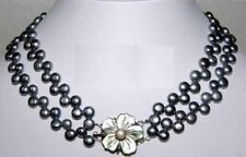 """2 Rows Real Black Flat Pearl Shell Flower 18KWGP Clasp Necklace 17-18"""""""