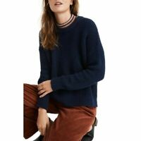 Madewell Joslin Sweater Navy Size Large  Cotton Textural Knit