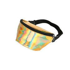 80s 90s Style Bright Gold Holographic Festival Bum Bag
