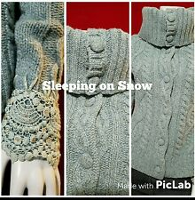 Anthropologie Sleeping Snow Cardigan Sweater Jacket Green Cable Knit L/S Lace WR