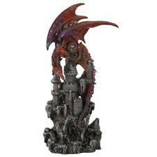 Guardian Dragon Protecting Castle with Precious Stone Collectible Figurine 12 In