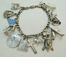 """NICE Vintage 1960s Sterling Silver Charm Bracelet with 15 unique Charms 7"""""""
