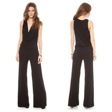 NWT Young Fabulous & Broke Lisle Jumpsuit Black Draped V neck XS Jersey Stretch