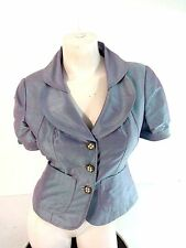 NWT KAY UNGER WOMENS IRIDESCENT BLUE AND LAVENDER SILK EVENING JACKET SIZE 4