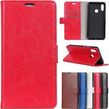 De Lujo Crazy Horse Cuero PU Abatible Billetera Estuche Cubierta Para ASUS Sony Xiaomi Nokia