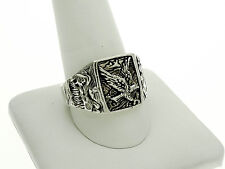 Southwestern Style Sterling Silver Ring with Eagle and Scenery Designs Size-12