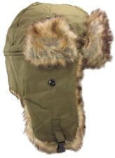Dakota Dan Cold Weather Hat Faux Rabbit Fur Olive Green Trooper Style Ear Flaps
