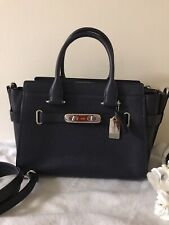 COACH Swagger 27 Pebble Leather Carryall Satchel Crossbody Navy Silver