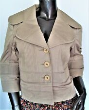 NWT-CATHERINE MALANDRINO PEBBLE BEIGE COTTON CROP 3/4 SLEEVE JACKET SZ-2 MSP$525