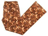 Dolce & Gabbana Brown Cotton Corduroy Leafy Foliage Womens Pants IT 46 - US 32