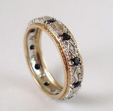 100% Genuine 9ct. Yellow & White Gold Sapphire & Diamonds Eternity Ring Sz 6.5