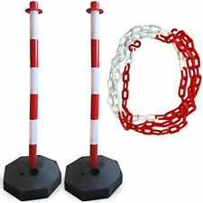 2 Traffic Delineator Poles | Plus Chain Included | Better Than Cones Red/White