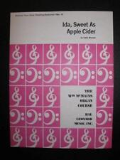 Ida Sweet As Apple Cider Sheet Music Vintage 1968 Eddie Munson Organ Solo (O)