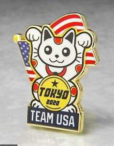 OLYMPIC PINS BADGE 2020 TOKYO 2021 JAPAN TEAM USA NOC PATRIOTIC LUCKY CAT GOLD M