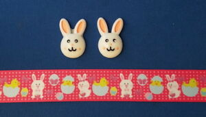 EASTER BUNNY PINK Hair Bow Supplies Set - 2 yd Ribbon and 2 Flatback Resins