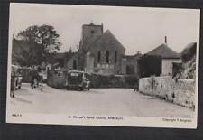 AMBERLEY Church man with bike car street view   RP photograph   postcard f271