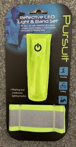 Pursuit 2 Piece Set Running Bike Walking Reflective Band LED Light Safety UK