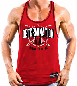 Determination Never Stop Monsta Clothing Men's Gym Workout Racerback: Red