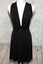 Venus Womens Sexy Dress Knot Front Criss Cross Back Sleeveless LBD Black Sz S
