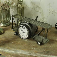 Iron vintage plane mantel clock biplane shabby retro chic shelf desk office gift