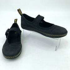 Dr Martens Carnaby Shoes Women's Size 7 Black Canvas Flats Air Wair Single Strap