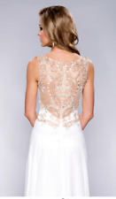 BEADED CHIFFON PROM EVENING WEDDING GOWN IN WHITE SIZE 10 BNWT
