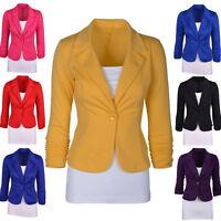 Womens Smart Jersey Blazer Ladies Office Work Buiness Jacket Coat Tops Stylish