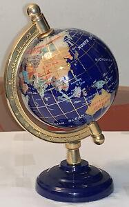 """8"""" Blue Ocean Gold ZINC ALLOY Desktop Gem MOP Gemstone World MAP globe"""