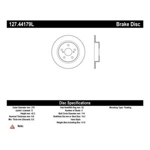StopTech 127.44179L Sport Drilled & Slotted Brake Rotor For 11-16 Scion tC NEW