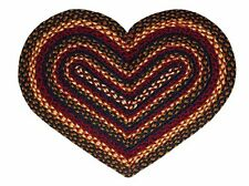 "IHF Home Decor Heart Shaped 20"" x 30"" Braided Rug Jute Blueberry Design"
