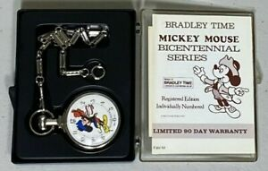 Vintage MICKEY MOUSE BICENTENNIAL POCKET WATCH by Bradley Time - WORKING