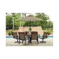 7 Piece Patio Garden Lawn Furniture Dining Set Swivel Chair Table Deck Outdoor